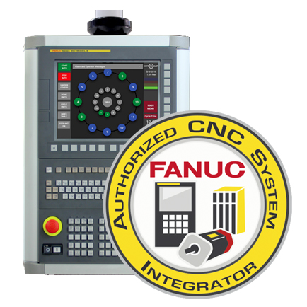 FANUC Control Authorized CNC System Integrator seal with control panel