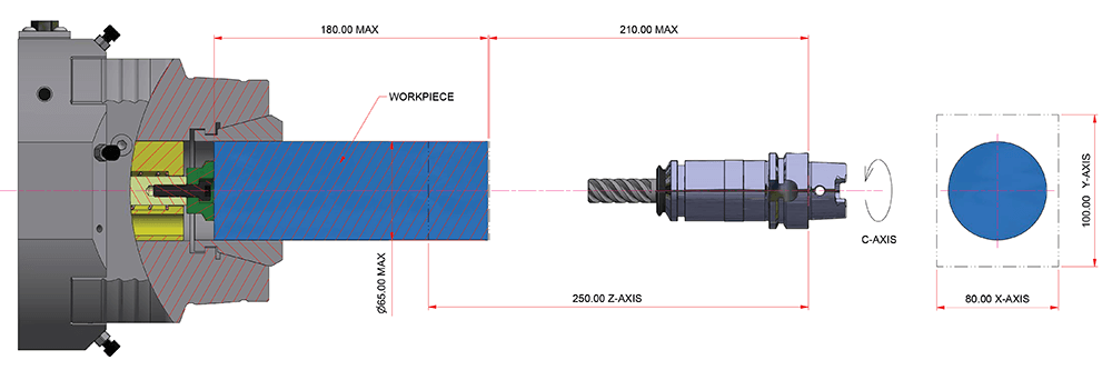 Eclipse 12 100 55/250 3-Axis Toolspindle Diagram